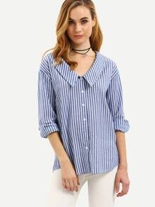 Pointed Collar Vertical Striped Blouse - Blue