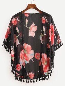 Kimono en gasa estampado de flores con dobladillo de borlas -negro