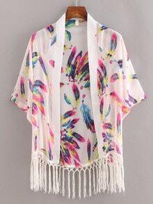 Macrame Fringe Feather Print Chiffon Kimono - White
