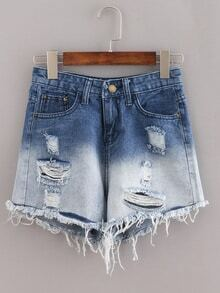 Ripped Raw Hem Blue Ombre Denim Shorts