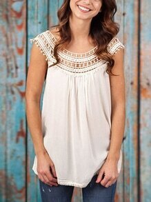 Crochet Insert Chiffon Top - White