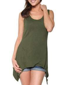 Asymmetric Tank Top - Olive Green