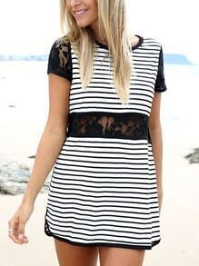 Lace Insert Black White Striped Tee Dress