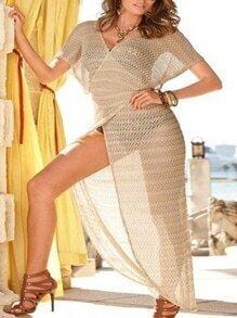 Cross Wrap Striped Mesh Asymmetric Dress - Khaki