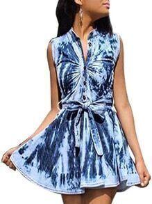 Self-Tie Tie Dye Print Sleeveless Shirt Dress - Blue