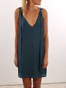 Double V-Neck D-Ring Strap Shift Dress - Blue