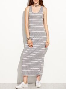 Striped Long Racerback Tank Dress - Grey