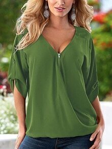 V-Neck Zip Front Rolled Sleeve Top - Green