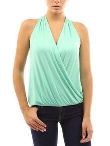 Draped Halter Neck Top - Mint Green