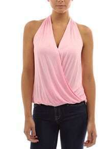 Draped Halter Neck Top - Pink