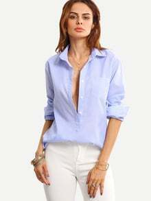 Buttoned Placket Vertical Striped Blouse - Blue