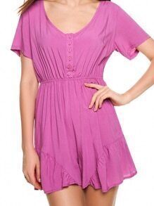 Buttoned Front Elastic Waist Ruffled Romper - Purple