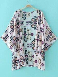 Multicolor Half Sleeve Printed Cardigan Kimono