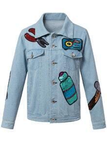 Blue Pockets Buttons Front Sequined Denim Jacket