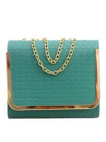 Embossed Faux Leather Metal Trim Flap Bag - Green