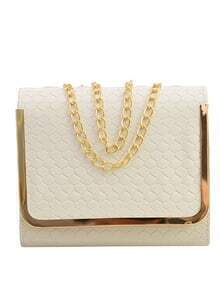 Embossed Faux Leather Metal Trim Flap Bag - White