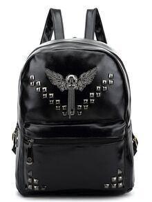 Metal Skull Embellished Studded Backpack - Black