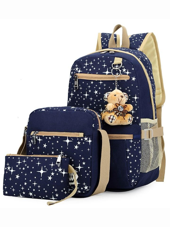 Star Print 3PCS Canvas Backpack Set - Blue