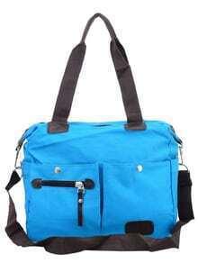Dual Pocket Front Canvas Shoulder Bag - Blue