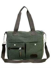 Dual Pocket Front Canvas Shoulder Bag - Olive Green