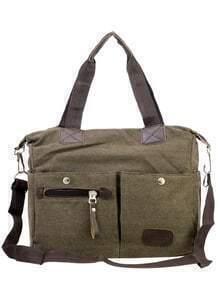 Dual Pocket Front Canvas Shoulder Bag - Brown