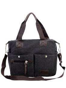Dual Pocket Front Canvas Shoulder Bag - Black