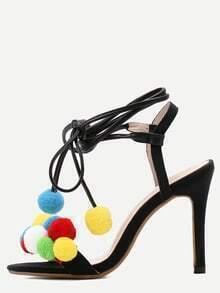 Black Peep Toe Pom Pom Gladiator Sandals