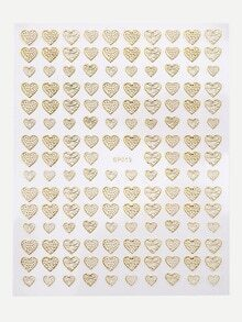 Gold Heart Shaped Nail Sticker