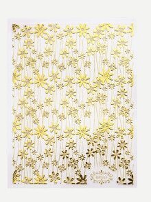 Gold Six-Leaf Flower Nail Sticker