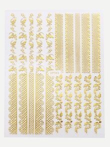 Gold Dragonfly And Flower Nail Sticker