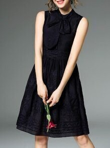Black Pleated Embroidered Tie-Waist Dress