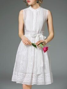 White Pleated Embroidered Tie-Waist Dress