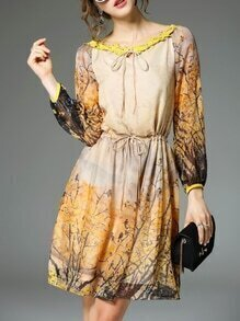 Multicolor Tie Neck Drawstring Print Dress
