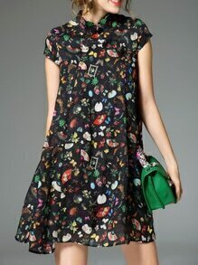 Black Collar Floral Shift Dress