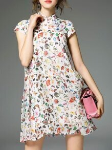 White Collar Floral Shift Dress