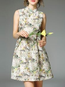 Multicolor Collar Floral A-Line Dress