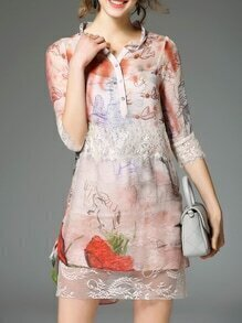 Multicolor High Low Two-piece Print Lace Dress