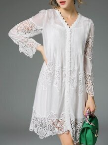 White V Neck Pleated Hollow Contrast Lace Dress
