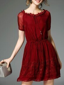 Burgundy Tie Neck Drawstring Contrast Lace Dress