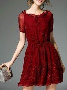 Burgundy Tie Neck Drawstring Contrast Lace Dress