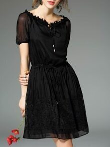Black Tie Neck Drawstring Contrast Lace Dress