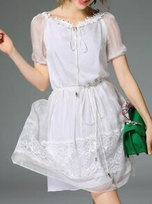White Tie Neck Drawstring Contrast Lace Dress