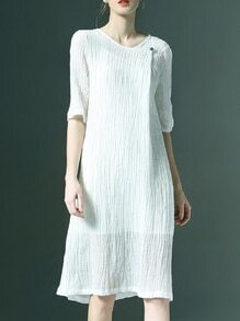 White Pleated Pockets Shift Dress