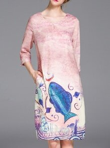 Pink Fish Print Shift Dress