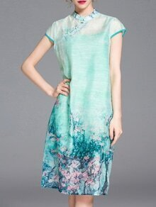 Seafoam Print Split Shift Dress