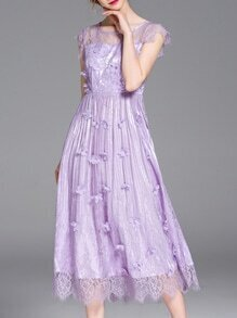Purple Flowers Applique Beading Lace Dress
