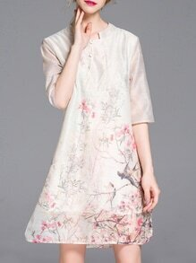 Cream Floral Split Shift Dress