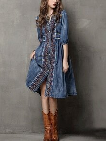 Buttoned Front Embroidered Denim Dress - Blue