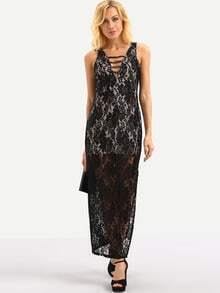 Ladder-Cutout Lace Overlay Sleeveless Dress - Black