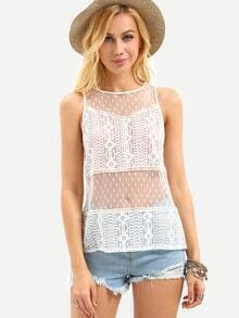 Flower Lace Sheer Mesh Tank Top - White